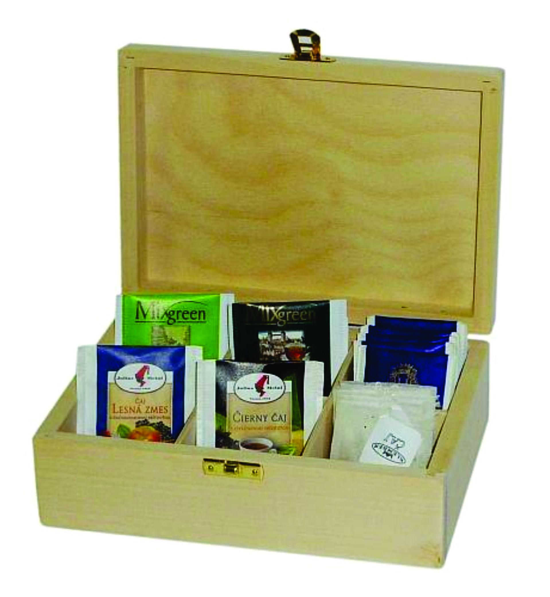 TEA6 Drevená kazeta na čaj, skladom